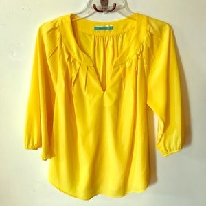 Pleione Bright Yellow Silky Blouse